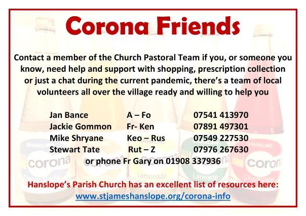Corona Friends Castlethorpe landscape online use