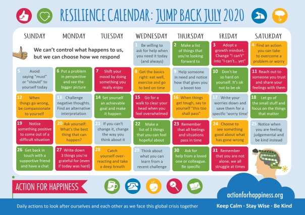 Mental Health Action Calendar for July 2020