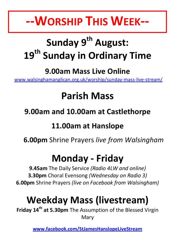 Worship and Events This Week - 9th August