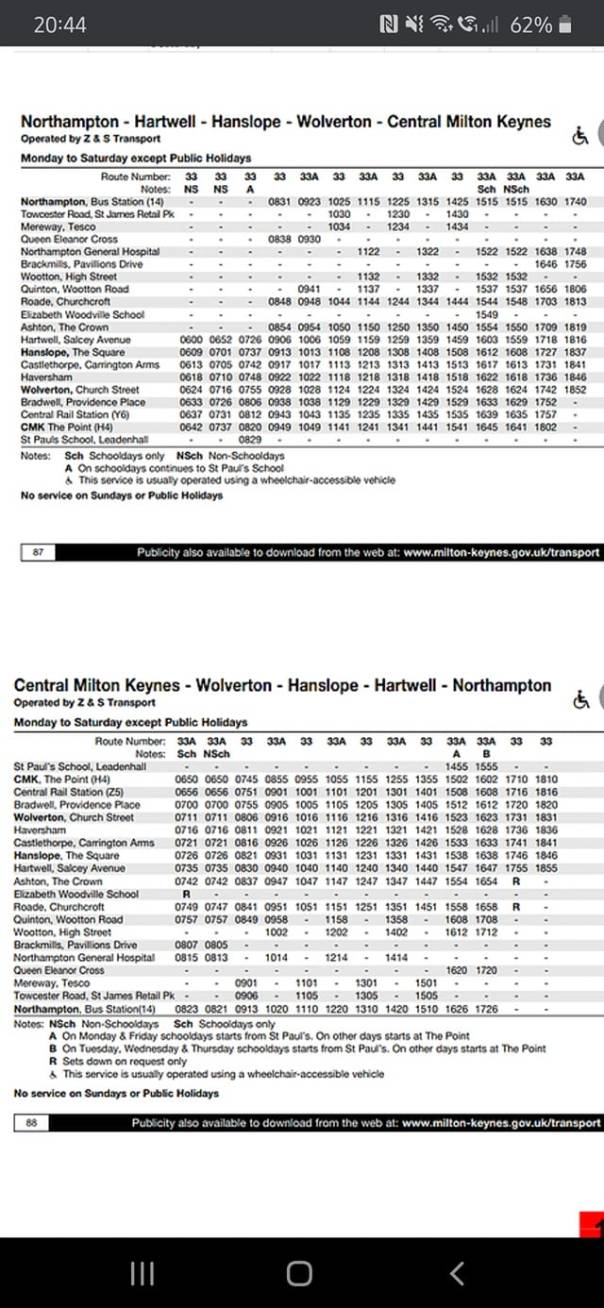Bus Timetable Nov 2020