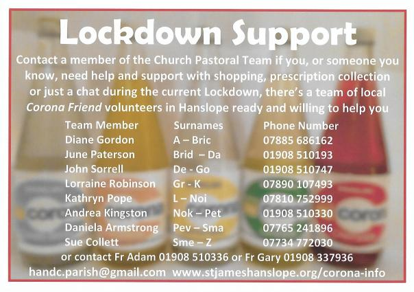 Lockdown Pastoral Link Hanslope November 2020