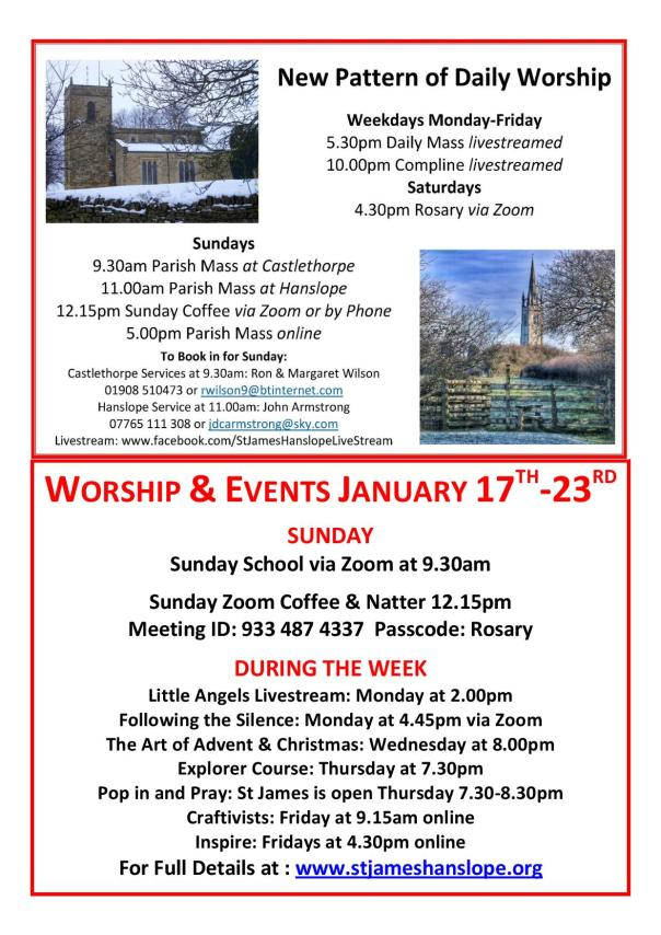 Worship and Events This Week - 17th January