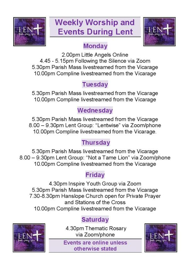 Lent Weekly Timetable 2021