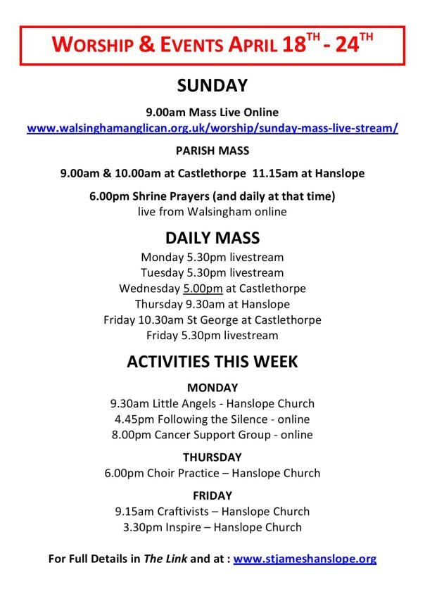 Worship and Events This Week - 18th April