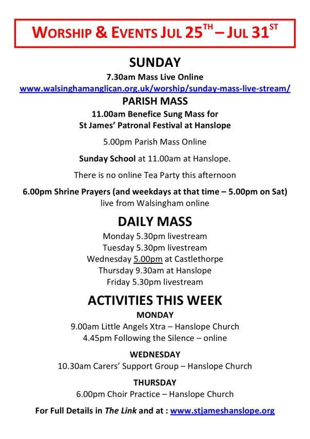 Worship and Events This Week - 25th July