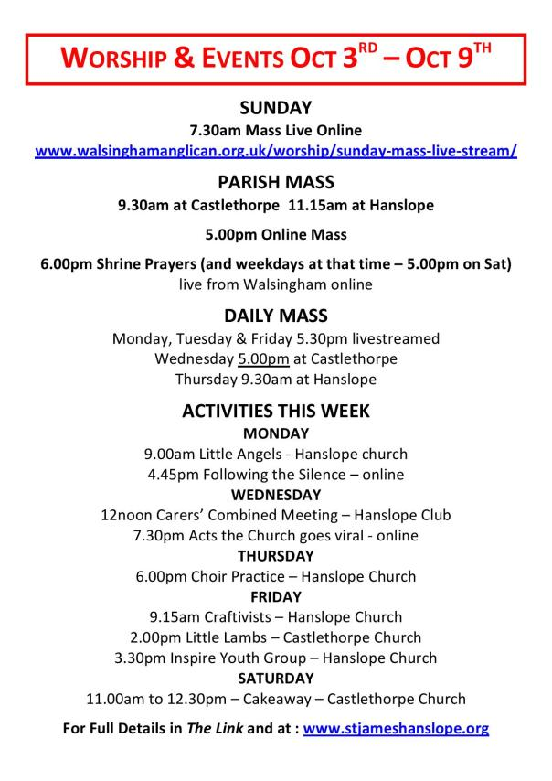 Worship and Events This Week - 3rd October